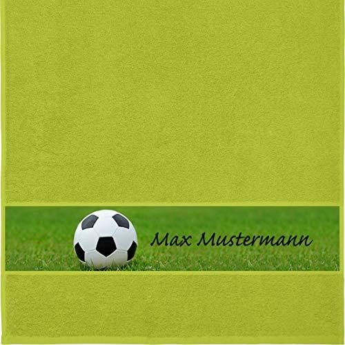 Manutextur Handtuch mit Namen - personalisiert - Motiv Sport - Fußball - viele Farben & Motive - Dusch-Handtuch - hellgrün - Größe 50x100 cm - persönliches Geschenk mit Wunsch-Motiv und Wunsch-Name