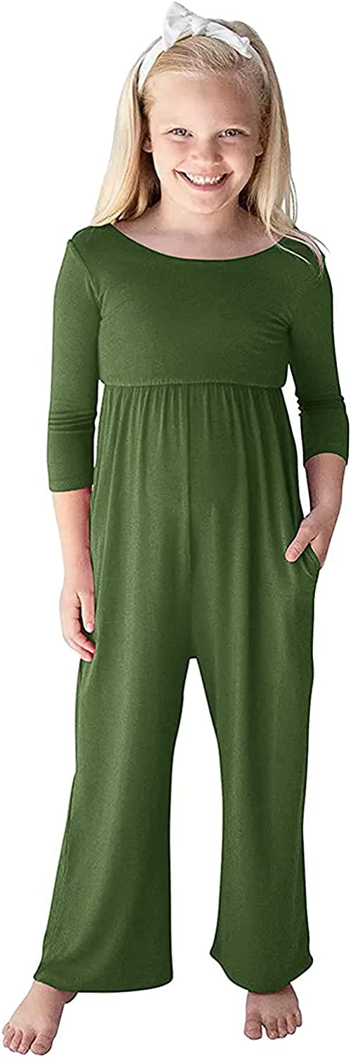 Aoysky Girl Easy-to-use Jumpsuits for Girls 3 Romper Sleeve 4 Wide Lowest price challenge Leg Long