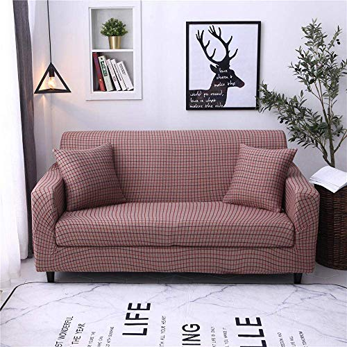 ZHBH Sofa Slipcover Stretch Elastic Fabric Brown Plaid Chair Loveseat Couch Settee Sofa Covers - Polyester Spandex Printed Sofa Slipcovers Furniture Protector Cover with 1 Pillowcase