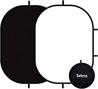 Selens Black White Backdrop 59x39.3inches Pop Up Collapsible Background with Carrying Bag for YouTube Streaming Photo Stud...