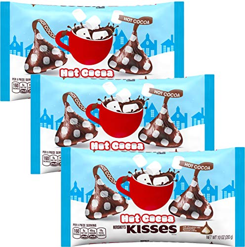 KISSES Chocolates  Hot Cocoa  Hot Chocolate Flavored Milk Chocolate Pack  Bulk Christmas Assortment  10 Ounce Bags 3 Pack Hot Cocoa 3 Pack