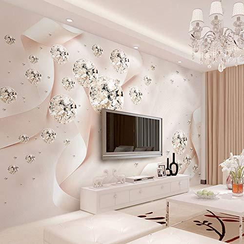 Papel pintado mural adhesivo de pared Joyas estereoscópicas 3D Cinta rosa Bola de cristal Mural Papel tapiz Sala de estar TV Sofá Fondo Revestimiento de paredes Decoración del hogar Fresco