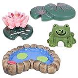 12pcs Micro Paisajes Piscina Frog Miniaturas Flores de loto y hojas Terrarios de acuario Miniatura Jardines de hadas Casa de muñecas Resina Decoración Estatua