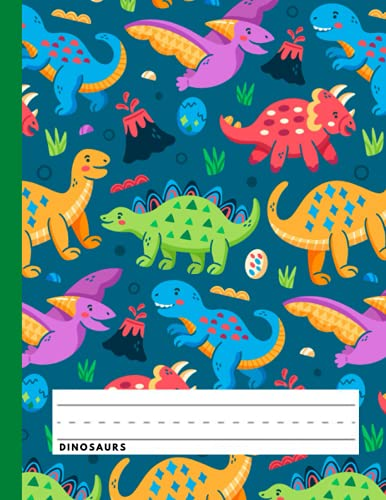 Dinosaurs: Primary Story Journal - Dotted Midline and Picture Space - Jurassic Composition Notebooks for Kids - Grades K-2 School Exercise Book