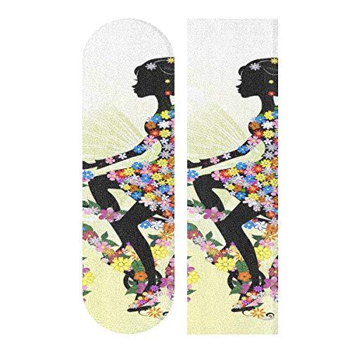 MNSRUU Skateboard-Griptape, Motiv: Mädchen auf einem Fahrrad, 23 x 84 cm