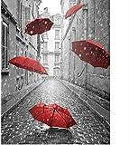 ZAWAGU Pintura Diamante DIY 5D Punto de cruz Set de regalo Kit completo París Paraguas rojo Patrones de bordado Diamante de imitación Mosaico Decoración del hogar Diamante cuadrado