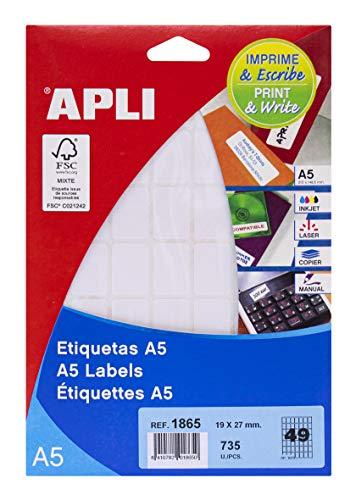 APLI 1865 - Etiquetas A5 blancas 19,0 x 27,0 mm 15 hojas 🔥