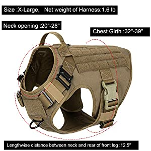 """ICEFANG Tactical Dog Harness with 2X Metal Buckle,Dog Walking Training molle Vest with Handle,No Pulling Front Leash Clip,Hook and Loop Panels for Dog Patch (XL (32""""-39"""" Girth), Coyote Brown)"""