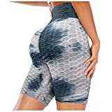 Binggong Honeycomb - Pantalones cortos de deporte para mujer, cintura alta, pantalones de yoga, sexy, push up para el gimnasio, scrunch Butt Lifting Hot Pants Tie-Dye