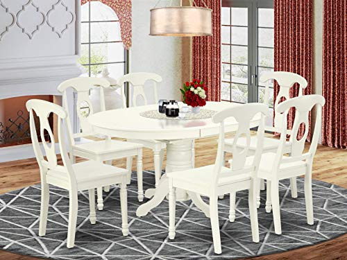East West Furniture wooden dining table set 6 Fantastic wooden Chairs - A Attractive modern dining table- Linen White Color Wooden Seat Linen White Butterfly Leaf round kitchen table