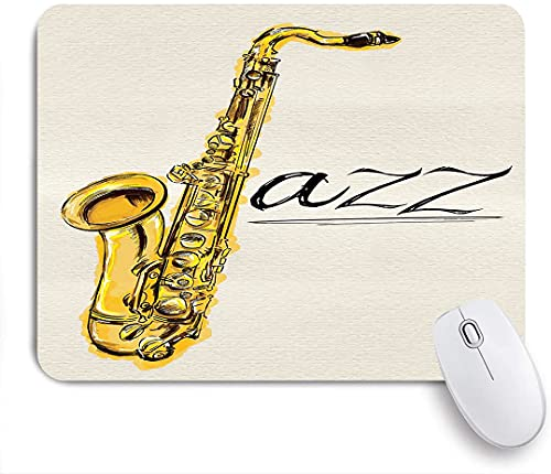 PATINISA Alfombrilla Raton Ordenador,Pintura clásica de impresión de saxofón de Jazz sobre Fondo Plano Boceto de Estilo Vintage,Alfombrilla Suave Gaming para Ratón Adecuado
