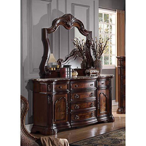 Best Master Barney's 2-Piece Wood Dresser and Mirror Set in Walnut w/Marble Top