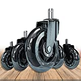 Office Chair Wheels, Heavy-Duty Caster Wheels 3 Inch, Replacement Wheels for Office Chair, Rubber Casters for Wood Floors/Carpet, Safe Quiet Rolling for Office Desk Chair Chair Wheels Set of 5