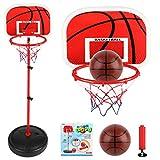 Cesta de baloncesto con pie + balón de juguete para niños ajustable en altura, 1,7 m