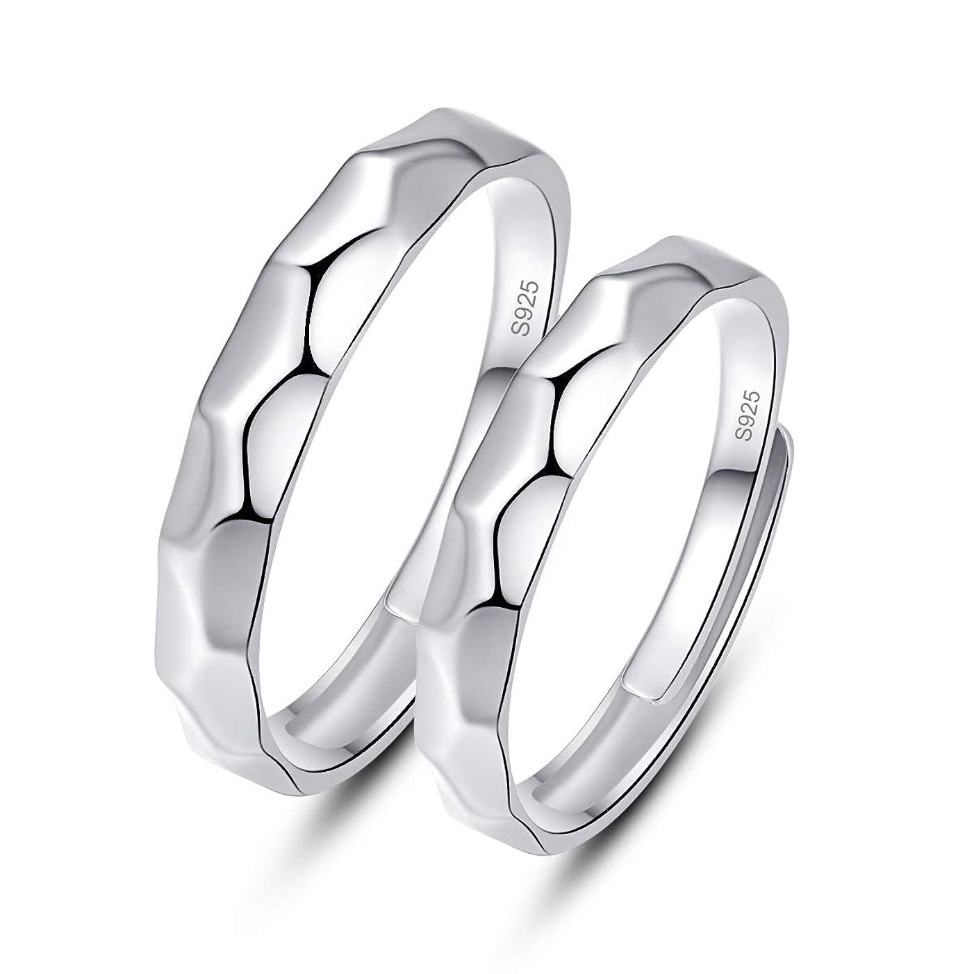再編成する日記鳴り響くJQUEEN 槌目 ペアリング カップル 婚約指輪 オープン シルバー925 純銀製指輪 フリーサイズ (カップル)