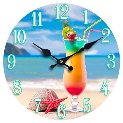 "Sea Creations 13"" Glass Beach Drink Clock"