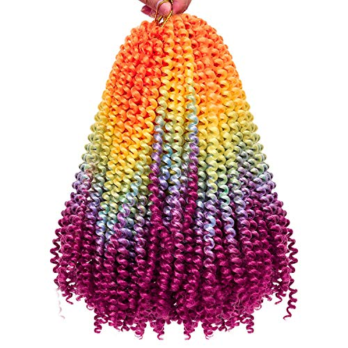 2 Pack Spring Twist Ombre Colors Bomb Twist Crochet Braids 8 inch Fluffy Soft Jamaican Bounce Synthetic Braiding Hair Extensions 30Strands/pack (8', Rainbow)