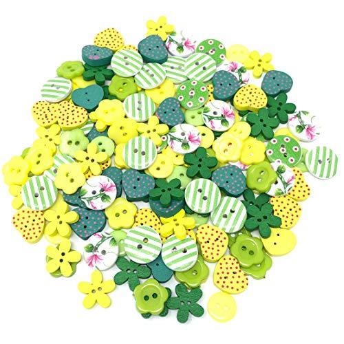 Lot de 150 boutons en bois acrylique et résine pour création de cartes Vert