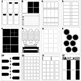 12 Pieces Journal Stencils DIY Templates Planner Weekly Layouts Bullet Dot Grid Journal Stencils Plastic Planner Set for DIY Notebook Diary (A6)