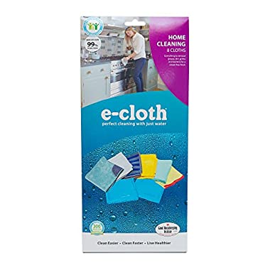 E-Cloth 8 Cloth Home Cleaning Set, Perfect Chemical Free Cleaning With Just Water, 99% Antibacterial