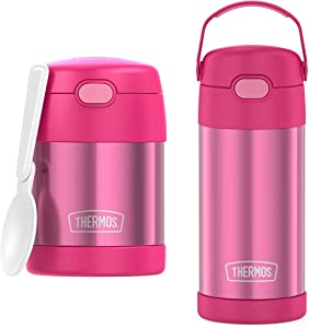 THERMOS FUNTAINER 10 Ounce Stainless Steel Vacuum Insulated Kids Food Jar with Folding Spoon, Pink & FUNTAINER 12 Ounce Stainless Steel Vacuum Insulated Kids Straw Bottle, Pink