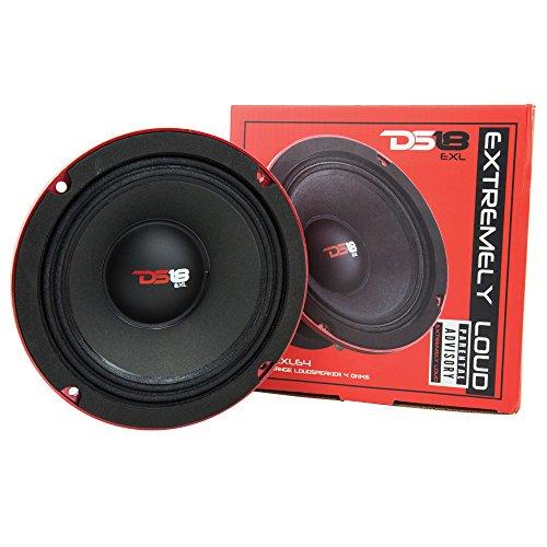 "DS18 PRO-EXL64 Loudspeaker - 6.5"", Midrange, Red Aluminum Bullet, 600W Max, 300W RMS, 4 Ohms, Ferrite Magnet - For the Peple Who Live and Breathe Car Audio (1 Speaker)"