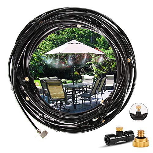 Innoo Tech Misting Cooling System 29.47FT (9M) Misting Line + 12 Spiral Brass Mist Nozzles + a Brass Adapter(3/4) Outdoor Mister for Patio Garden Greenhouse Trampoline for waterpark
