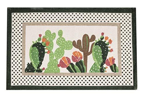 Tappeto Antiscivolo Cucina, Tappetino Bagno, Doccia 50x80 cm, Lavabile in Lavatrice, Motivo Mexico, Disegno Cactus
