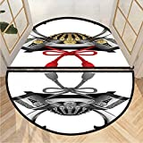 Semi-Circular Area Rug Samurai Kabuto Mask Front Door Mat Outdoor Set 2 Pack W31.5 x H19.7