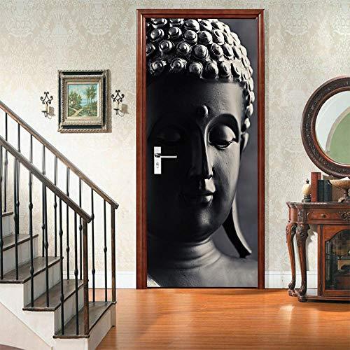 3D Door Wall Stickers Self-Adhesive Murals-Buddha Statue -Peel and Stick Door Decals Removable PVC Waterproof Door Art Wallpaper for Door Decoration 35.5x78.8 inch