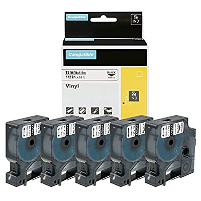 Wonfoucs Compatible Label Tape Replacement for DYMO 18444 Rhino Permanent Vinyl Industrial Label Tape for DYMO Rhino 5200 4200 5000 Industrial Label Maker, Black on White, 1/2-Inch x 18 ft, 5 Pack