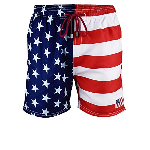 Exist Licensed-Mart Herren Patriotische USA Amerikanische Flagge Streifen und Sterne Quick Dry Beach Board Shorts Badehose - - Small
