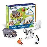 Learning Resources Jumbo Zoo Animals I Monkey, Penguin, Zebra, Polar Bear, and Hippo, 5 Animals, Ages 2+