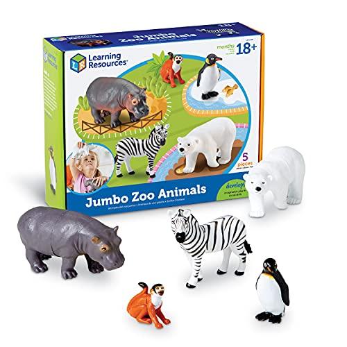 Learning Resources Jumbo Zoo Animals I Monkey  Penguin  Zebra  Polar Bear  and Hippo  5 Animals  Ages 2+