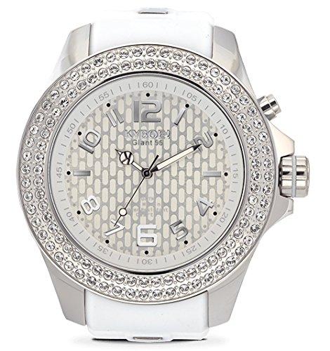 KYBOE! Reloj de cuarzo de acero inoxidable y silicona (Modelo: Radiant Silver)