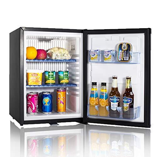 Smad Mini-Kühlschrank 12V und 220V Minibar Absorption Kühlschrank für Camping Wohnmobil RV Auto Büro Hotel Klein Kühlschrank mit Schloss Lautlos Leise Schwarz 40L