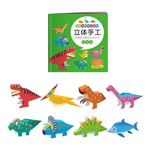 Buhui Kit de 12 piezas de papel 3D para manualidades de arte y manualidades de papel plegable para niños pequeños manualidades de arte juguetes de papel placa de arte kit de arte