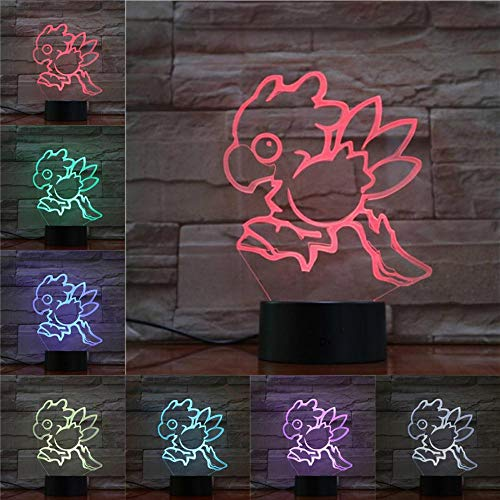 Wfmhra Juego Final Fantasy IX Night Light LED Touch Sensor Lámpara Decorativa Birthday Holiday Festival Gift VIVI Ornitier 3D Table Lamp
