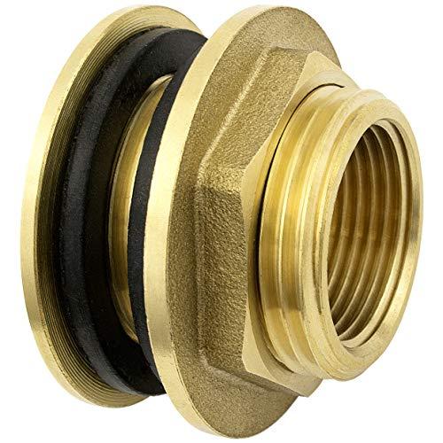 Shyne Premium 1/2 Zoll Regentonnendurchführung aus Messing + 2X Gummidichtungen für Wasserhahn, Zapfhahn an Fass, Regentonne, Tanks rostfrei