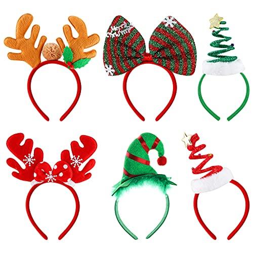 Diademas de Navidad, 6 piezas Diadema Navideña reno, árbol de navidad, sombrero, diademas con lazo aros de pelo navideños Diademas para fiestas de Navidad Regalos Decoraciones Apoyos de la foto