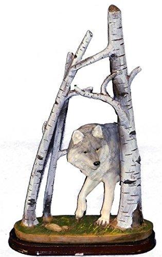Lobo solitário intrincado de 23 cm em madeira de bétula estatueta colecionável da PS