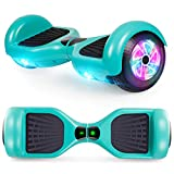 CBD Hoverboard for Kids, 6.5 Inch Two Wheel Hoverboard, Self Balancing Electric Scooter with LED Lights (B Green-No Bluetooth)