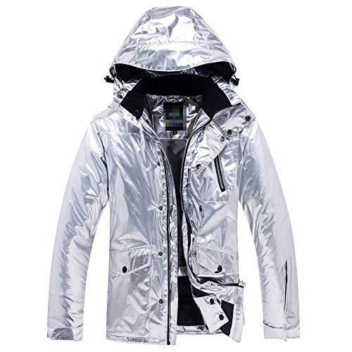 Damen Skijacke Silberne Jacken mit Kapuze, atmungsaktiver Regenmantel Bergwandern Wandern Reisen Freizeit Multi-Taschen Outdoorjacke Für Winteraktivitäten im Freien ( Farbe : Silber , Größe : 3XL )