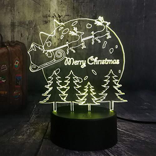 ShiyueNB nieuwe 3D LED-verlichting slee Kerstboom RGB nachtlampje USB bureaulamp thuis vrolijk jaar kinderen