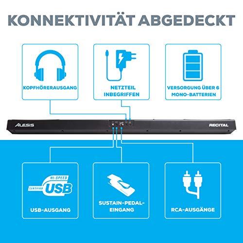 Alesis Recital – Digitalpiano mit 88 Tasten in Standardgröße und eingebauten Lautsprechern - 4