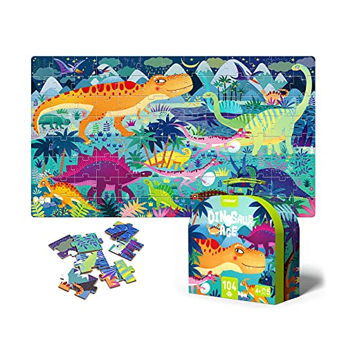 Mideer Puzzles for Kids Ages 4-8, 104 Piece Puzzles for Toddler Colorful Illustrated Designed Dinosaur Puzzle Children Preschool Learning Educational Puzzles Toys for Boys and Girls