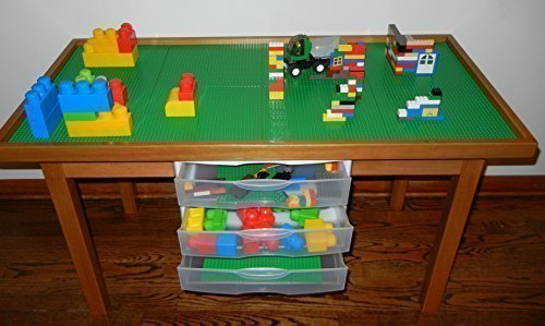 Lego Compatible Oak Color Play Table with 3 Storage Drawers Solid Poplar Wood Legs & Frame - Removable Base Plate Lego Tiles 29 INCH Tall Legs