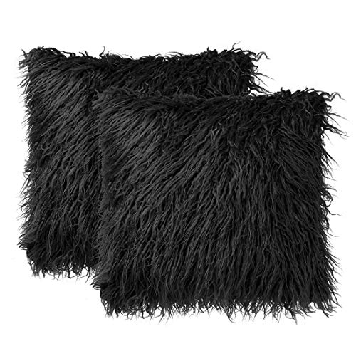 sourcing map Pack of 2 Soft Long Shaggy Faux Fur Throw Cushion Covers,Decorative Soft Plush Pillow Cover,Square Throw Pillowcases for Sofa Couch,18' x 18', Black