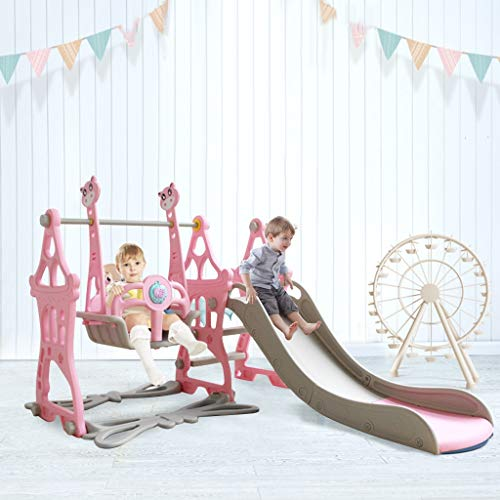 Climber and Swing Set with Music Toddler 3 in 1 Play Slide Climber Indoor Outdoor Playground Toy, Basketball Hoops with Ball Game Accessories Activity Center in Backyard, for Kids Ages 3 and up (Pink)