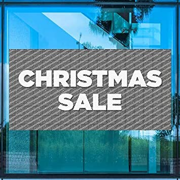 96x48 CGSignLab Christmas Sale Stripes Gray Perforated Window Decal